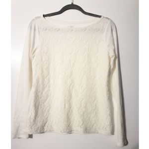 LOFT NWOT lace front lightweight tee white